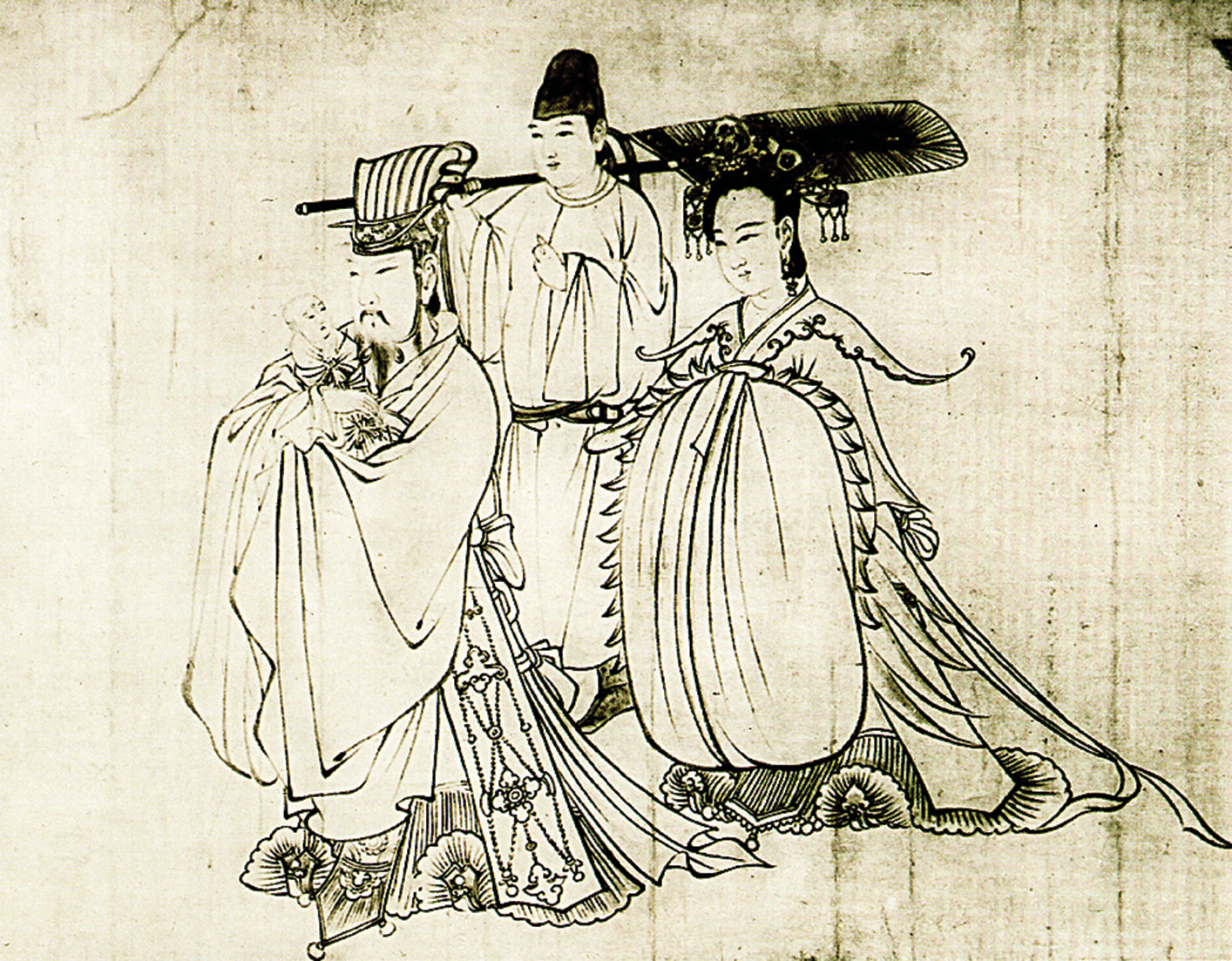 唐·吳道子《釋迦降生圖》(又名《送子天王圖》)。日本大阪市立美術館藏。(公有領域)