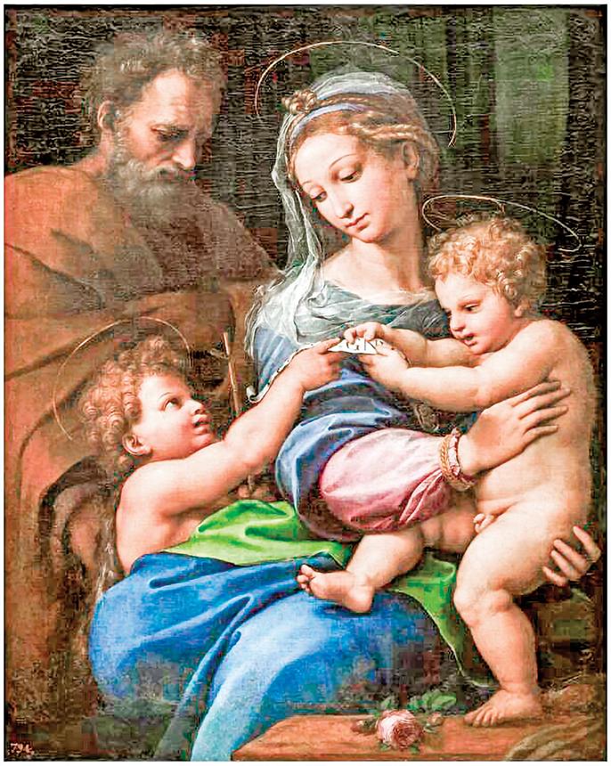 拉斐爾的作品《玫瑰聖母》,1518~1520年。油彩、畫板,103 x 84公分。西班牙馬德里普拉多博物館收藏。(公有領域)