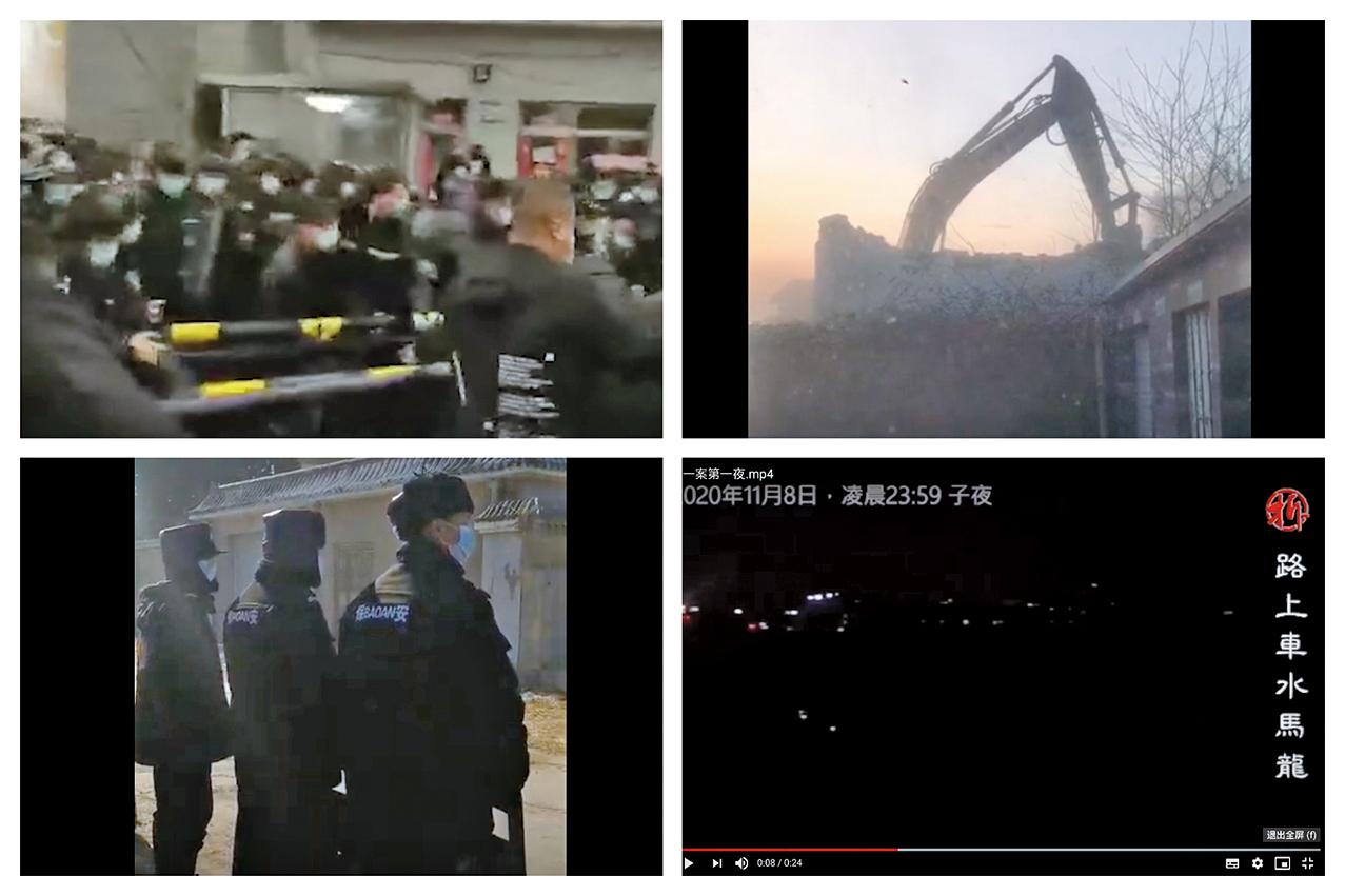 北京昌平小湯山鎮九華科普園先後被強行斷氣、斷電、斷水,一片漆黑。(影片截圖)