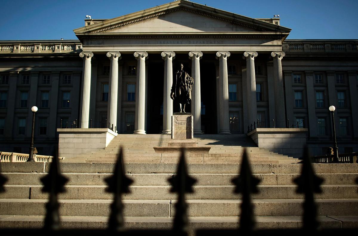 圖為美國財政部的大樓。(ANDREW CABALLERO-REYNOLDS/Getty Images)