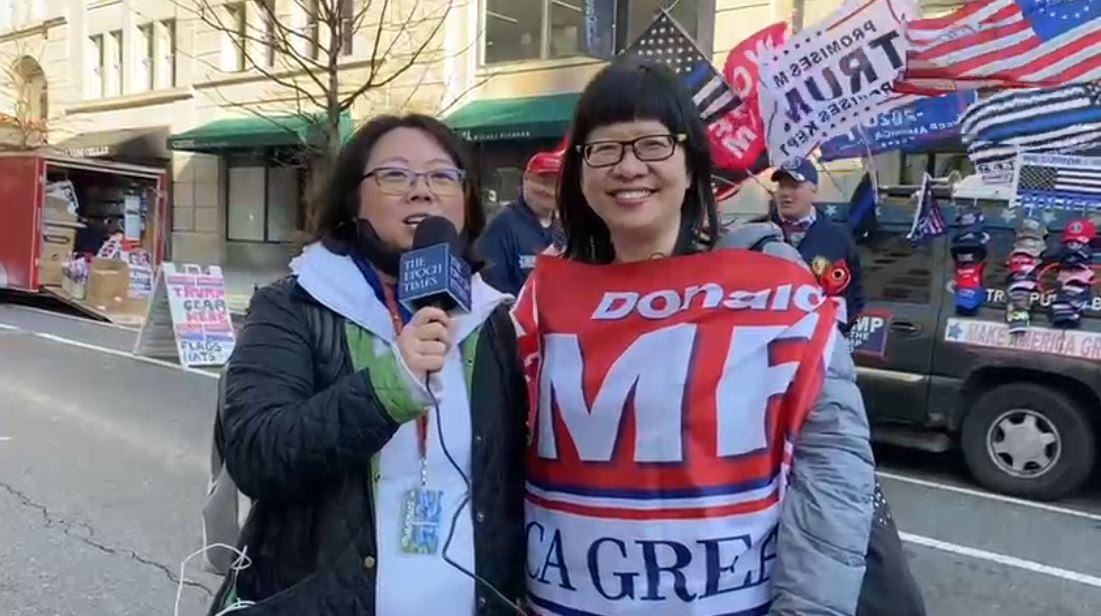 來自紐約的牧師海倫女士,2020年12月12日在華盛頓DC接受香港大紀元時報記者的現場採訪。(視頻截圖)