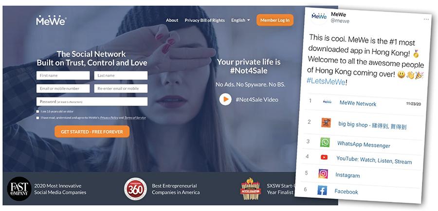 MeWe發帖文表示已成為香港下載量最高的App,歡迎港人加入,並稱於年底前軟件可支援繁體中文。MeWe功能與面書相似,特點是「沒廣告、沒針對目標、沒政治傾斜/審查」,用戶閱覽內容按時序呈現,並非根據演算法。(網絡截圖)