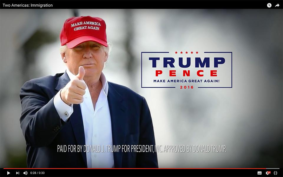 民調落後對手之際,美國共和黨總統候選人特朗普(Donald Trump)周五(19日)推出首個付費的電視廣告,聚焦國家安全問題,意圖挽回民意。(視像擷圖)