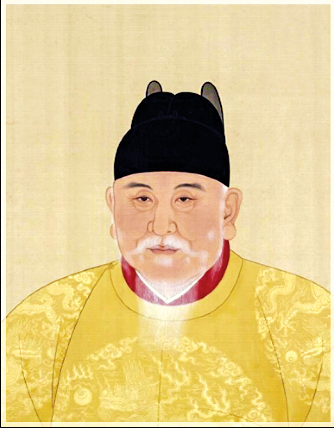 明太祖朱元璋戴「翼善冠」的畫像。(公有領域)