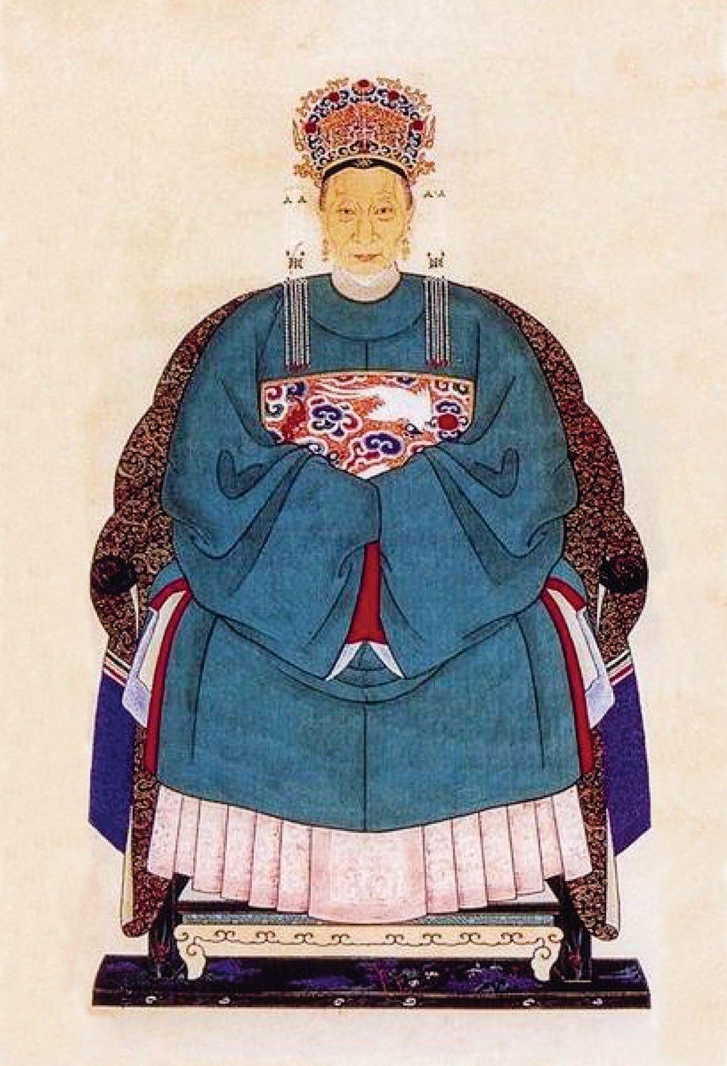 明代命婦(授封號的官員母、妻)穿著的禮服以大袖衫、鳳冠、霞帔、褙子等組成。圖為明代命婦著圓領袍。(公有領域)