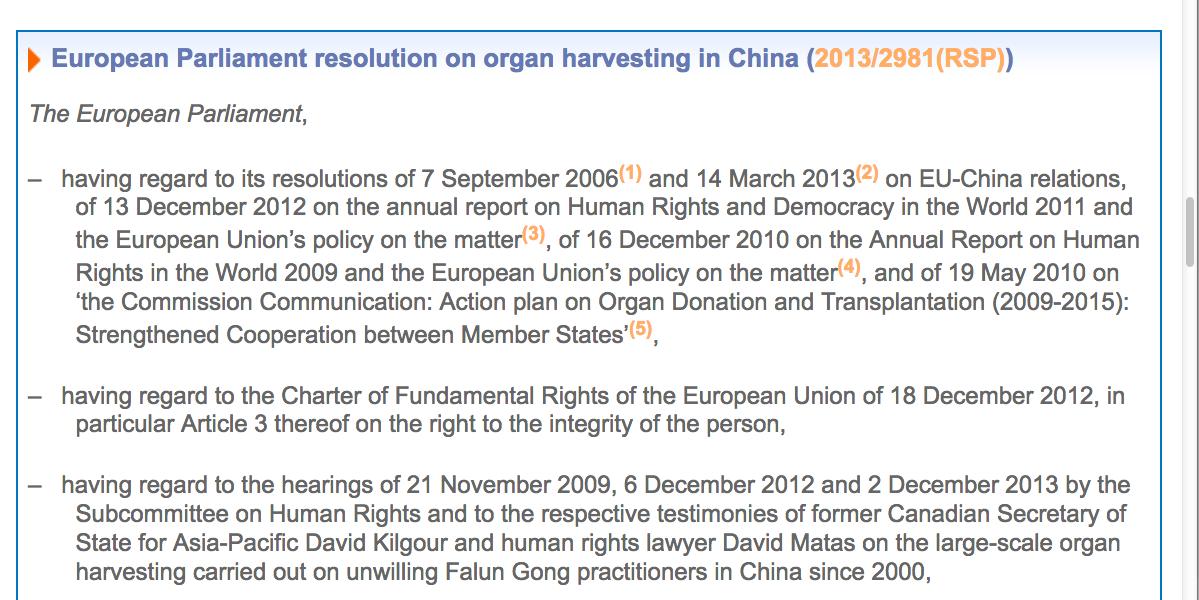 2013年12月12日,歐洲議會通過一項緊急議案,要求「中共立即停止活體摘除良心犯,以及宗教信仰和少數族裔團體器官的行為」。(歐洲議會網站截圖)