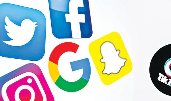 面書、推特、谷歌和TikTok等科技巨頭的公司標誌。(AFP、Getty Images)
