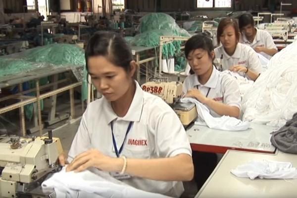 日本厚生勞動省8月16日發表的外國人實習生勞動狀況的報告顯示,僱用實習生的企業中,約有70%的企業違反了勞動基本法條例。圖為來自越南的實習生的工作情景。(視像擷圖)