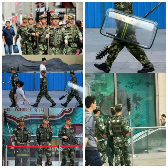 中共天津武警攜狼牙棒在鬧市巡邏遭輿論抨擊。(網絡圖片)