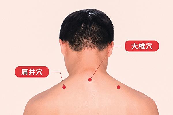 改善手腳冰冷的肩井穴與大椎穴。(健康1+1/大紀元)