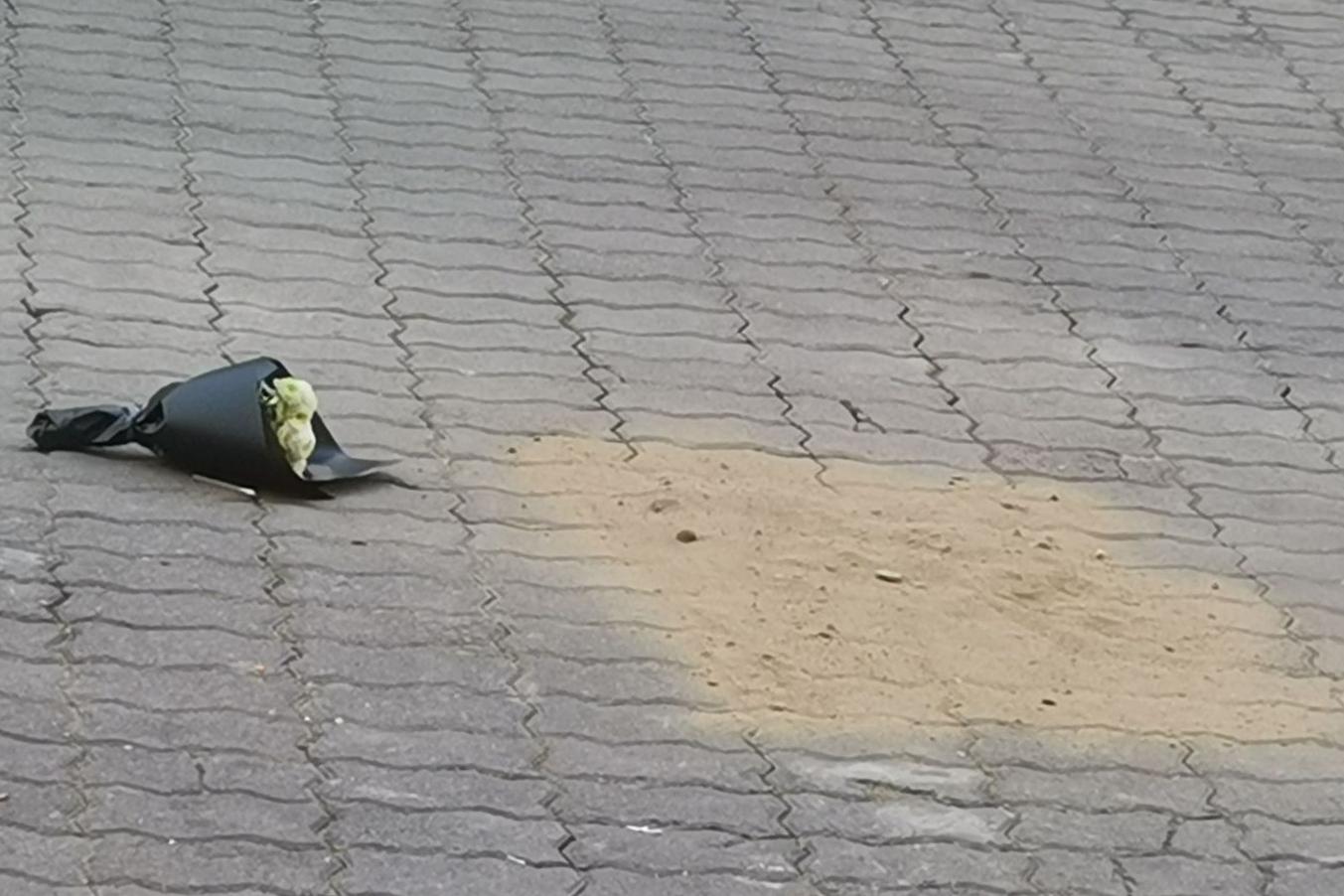 12月15日,北京交通大學一名大三學生跳樓自殺身亡,事後一束鮮花被放置於現場。(網路圖片)