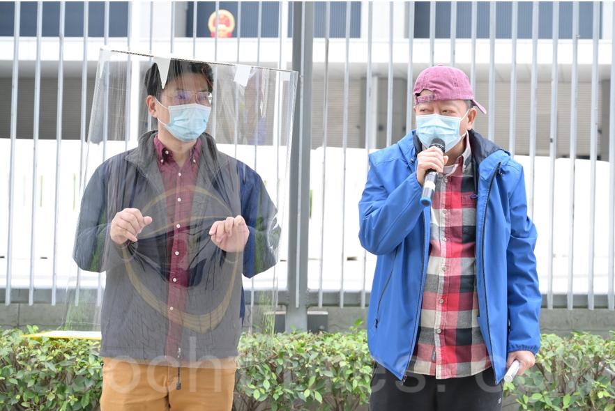 左為工黨主席郭永健,右為工黨副主席李卓人。(Bill/大紀元)