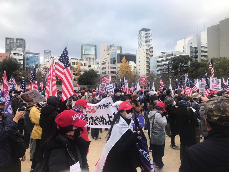 日本大阪挺川大遊行 2千多民眾走上街