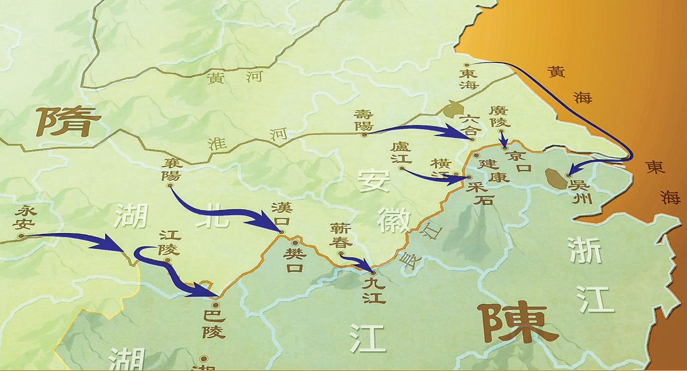 公元588年十月,隋帝國共集結51萬8千人,從長江上游到下游,分八路攻擊陳帝國。(圖/新唐人電視台)