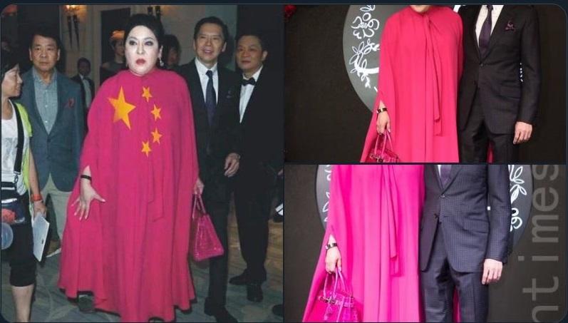 陳嵐的衣裙被網民剪貼了中共五星圖,嘲諷陳嵐「愛黨」。(推特截圖)