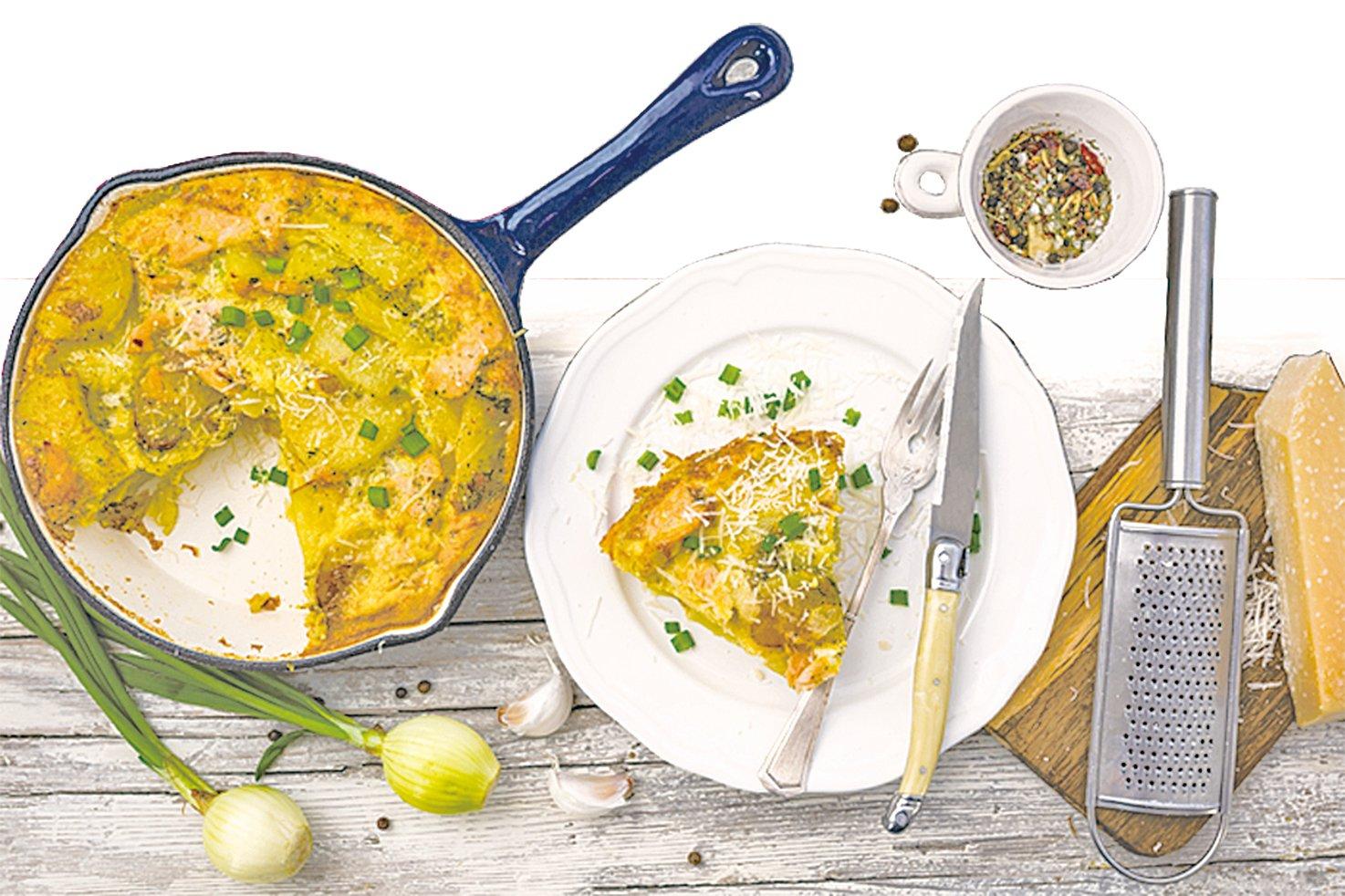不用派皮也能烘烤的煙燻三文魚薯仔煎蛋餅。