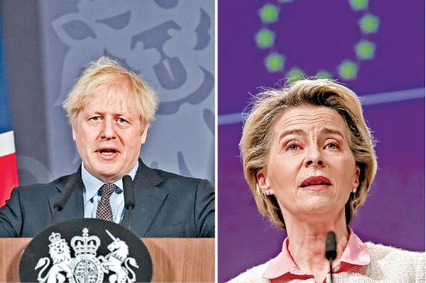 (左)12月24日,英國首相約翰遜宣佈與歐盟達成脫歐後的貿易協議。(AFP) (右)歐盟主席馮德萊恩24 日就英歐貿易協議召開記者會。(Getty Images)