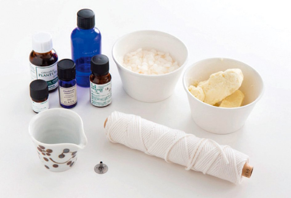 製作護膚蠟燭需要的材料。