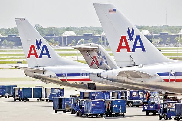 芝加哥奧黑爾國際機場的一架美航飛機。(Getty Images)
