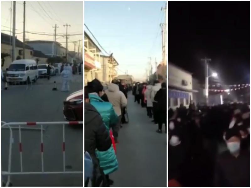 北京順義區高麗營張喜莊村被封閉,人們排長龍從白天到黑夜做核酸檢測。(視頻截圖)