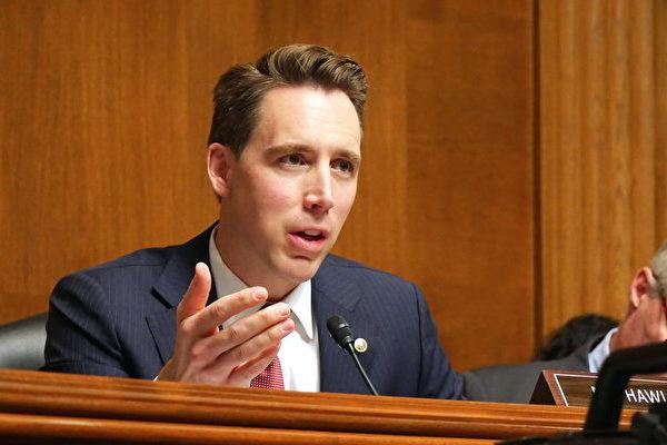 美國聯邦參議員喬希‧霍利(Josh Hawley)2019年11月5日在參議院的一場聽證會上。(李辰/大紀元)