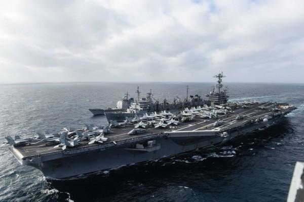 日媒披露,中共駐日大使6月下旬要求日方不要參與美國在南海的「航行自由」行動。圖為,今年3月,美國斯坦尼斯號航母編隊駛入南海。(圖片來源:美太平洋艦隊官網)