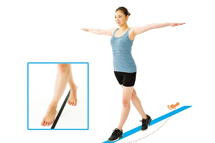 「交叉步行」的走路方法能改善身體歪斜狀況,並加速燃脂減肥。(圖|和平國際提供、大紀元製圖)