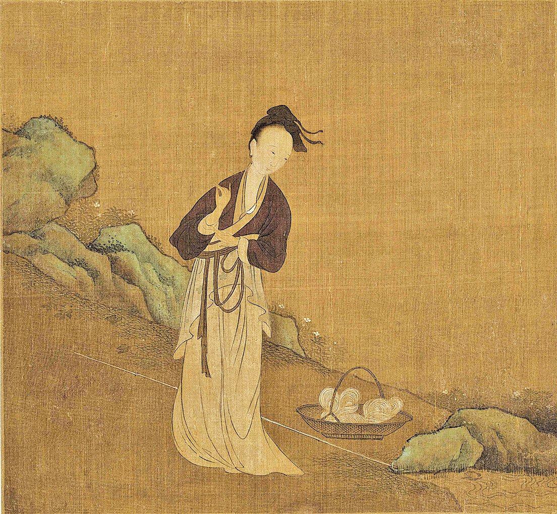 史上第一位「千金小姐」,是一位被李白譽為「卓絕千古」的貞女。現在用「千金小姐」指出身名門,大謬其意啊……示意圖:五代周文矩《西子浣紗圖》(局部),絹本。(公有領域)