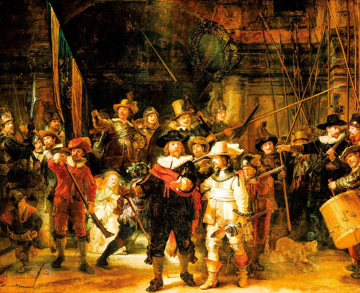倫勃朗(Rembrandt)的名作《夜巡》。(公有領域)