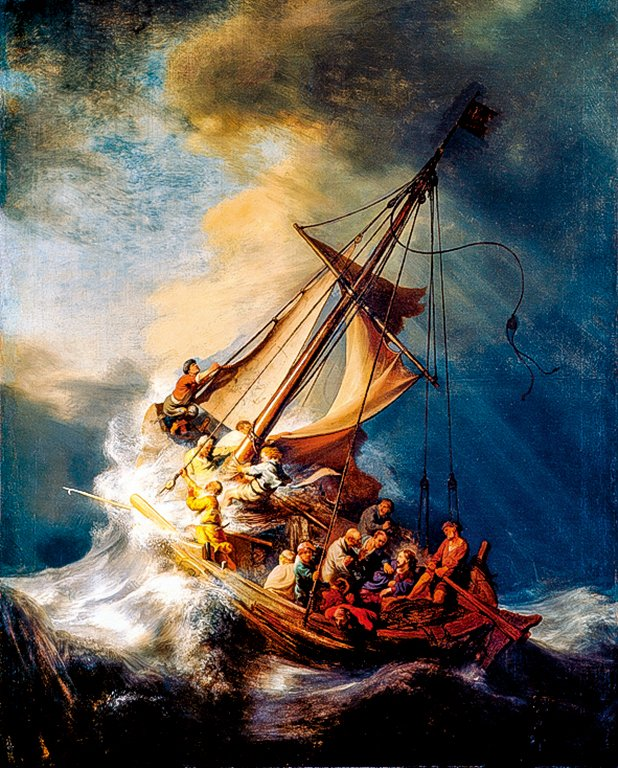 倫勃朗唯一的海景畫《加利利海的風暴》,繪製於1633年。(公有領域)