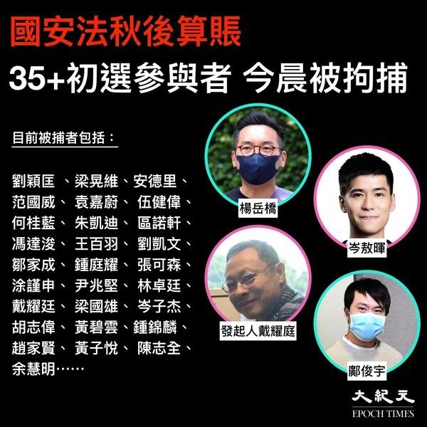 港版國安法秋後算賬 多位35+初選參與者今被捕