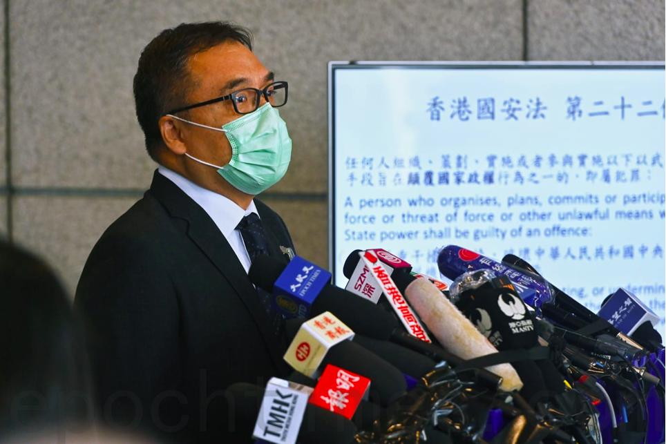 警方國安處高級警司李桂華在今日(1月6日)下午會見傳媒,交代拘捕53名民主派人士。(宋碧龍/大紀元)