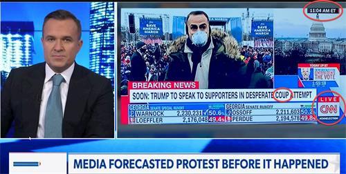 格里·凱利(左)指出:錄象資料顯示:CNN在1月6日上午11點就已把百萬抗議人群成為「叛亂者」(coup),他們似乎早就知道下午會發生甚麼。(明慧網提供)