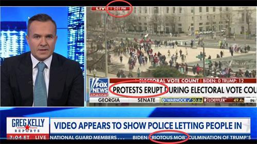 Newsmax新聞截圖:1月6日下午2時,FOX新聞把走在DC人行道上的抗議者說成是在數票過程中的「奔瀉」(erupt),而另一名總統候選人則直接將抗議者成為「暴民」(mob),稱「暴民在向DC集結」。(明慧網提供)