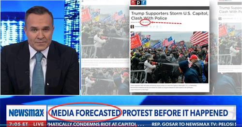 Newsmax新聞截圖:國家公共廣播(NPR)1月6日上午9時33分就推出了「特朗普支持者風捲首都、與警察發生暴力衝突」的「新聞」圖片。(明慧網提供)