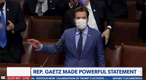 代表佛州的國會議員馬特·蓋茨(Matt Gaetz)是眾議院武裝部隊委員會和眾議院司法委員會成員,在國會的工作重點是國家安全、退伍軍人事務以及對憲法原則的遵守。他對1月6日發生的事情做出自己的發言,詳細內容見圖下文字稿。(明慧網提供)