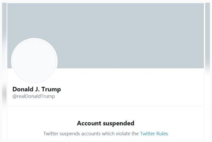 特朗普個人帳號遭永久停用帳號﹝推特截圖﹞