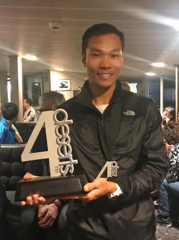 黃浩聰在2018年的「四大極地超馬巡迴賽」中獲得總冠軍。(受訪者提供)