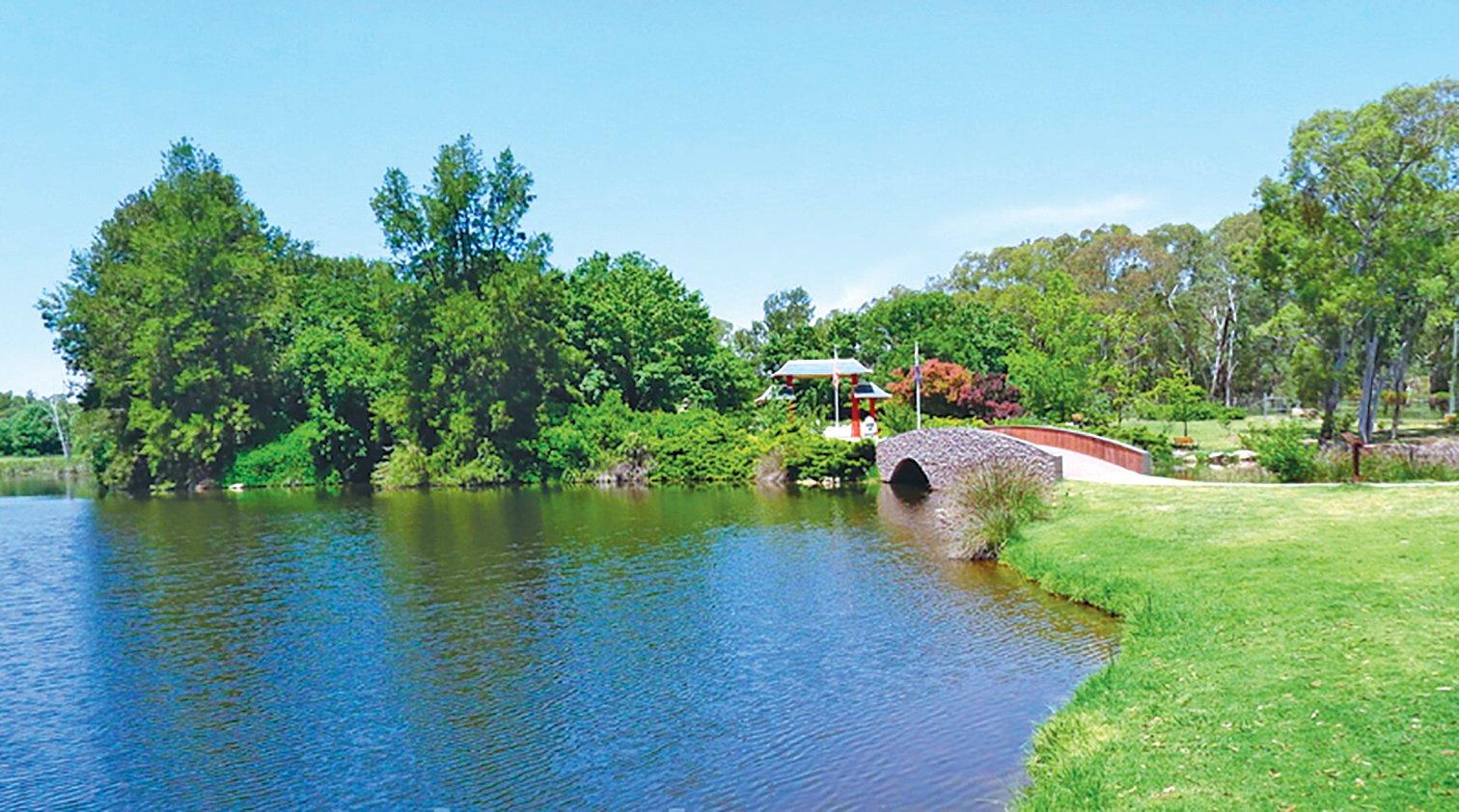 中國園林式的藍坪公園。