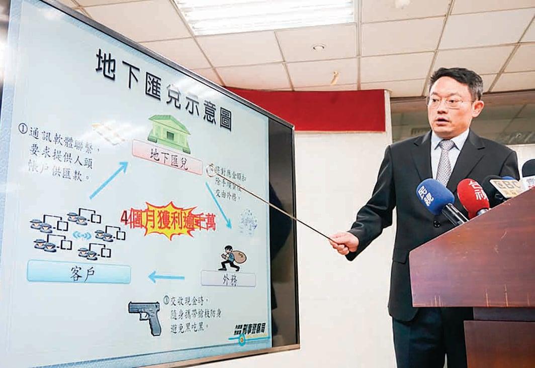 各國洗錢的一個重要媒介是地下錢莊。圖為2015年3月,台灣刑事局宣佈破獲地下匯兌集團後,說明洗錢流程。(中央社)
