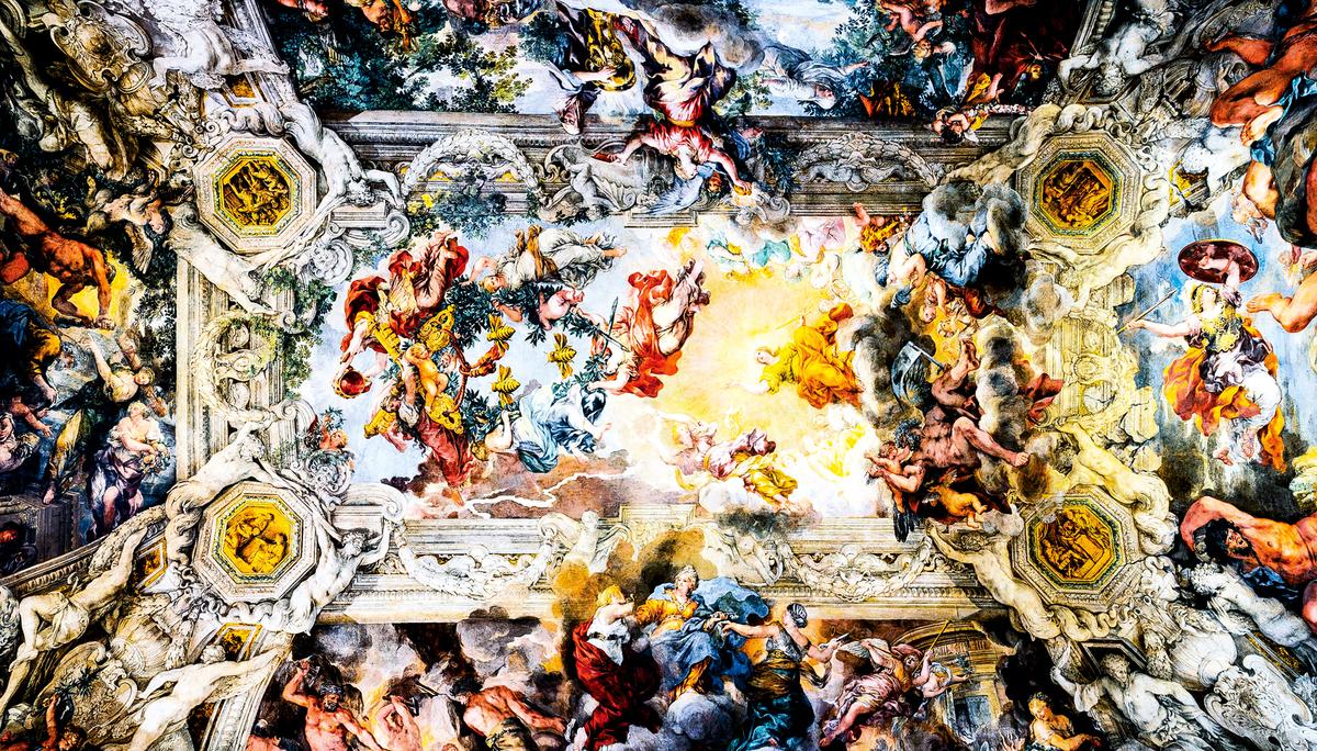 《神意的勝利》(The Triumph of Divine Providence)穹頂濕壁畫,科爾托納作於公元1632~1639年間,現存於羅馬巴貝利尼宮大廳。(公有領域)