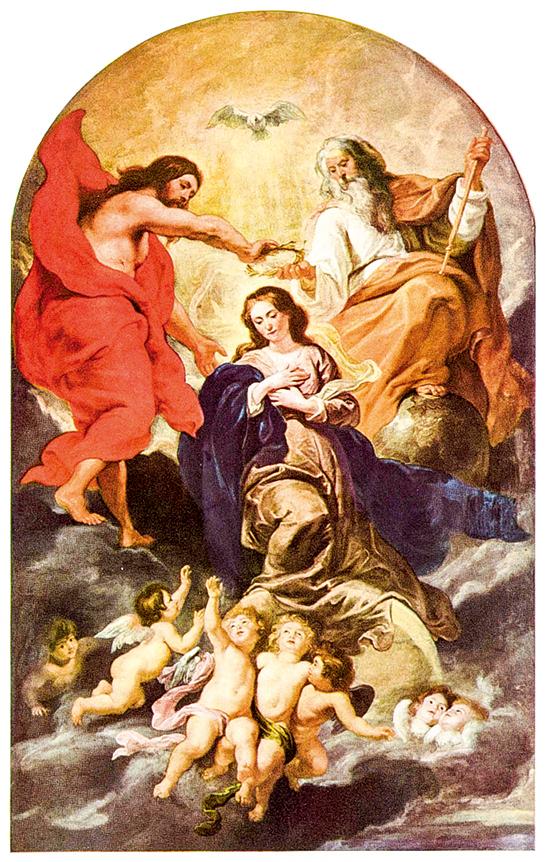 魯本斯(Peter Paul Rubens,1577~1640)公元1625年繪製的《聖母加冕》The Coronation of the Virgin , 收藏於布魯塞爾,比利時皇家美術館。(公有領域)