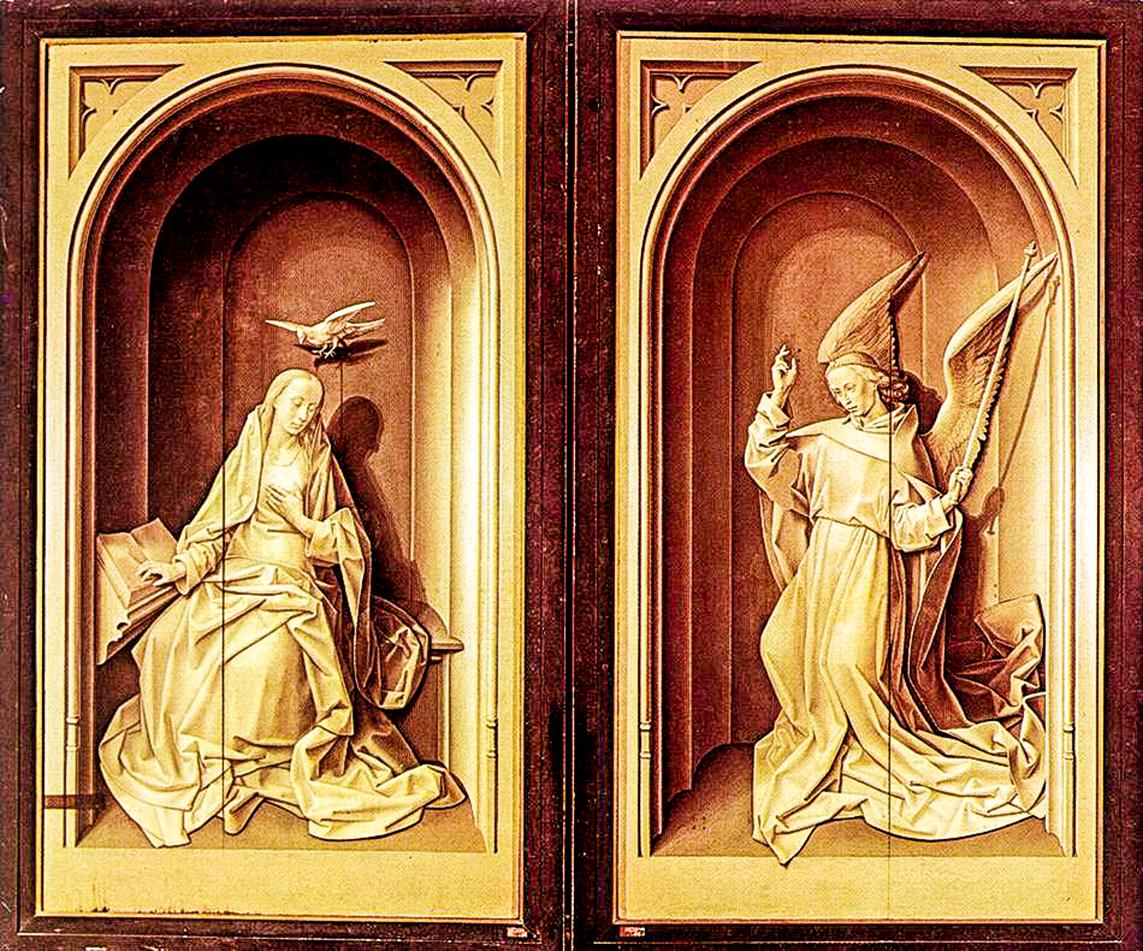 波爾蒂納里三聯祭壇畫(Portinari Altarpiece)關上的樣子,關閉面以單色完成,作者為弗拉芒畫家凡德高斯(Hugo van der Goes),板上油畫,祭壇畫打開後為253釐米×586釐米,約作於1475年。(公有領域)