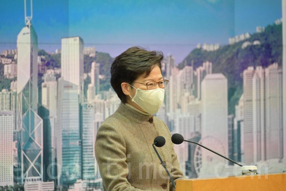 香港特首林鄭月娥1月12日出席行政會議前見記者。(郭威利/大紀元)