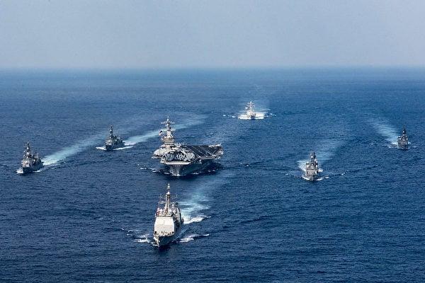 美國海軍作戰部2021年1月11日公佈一份10年計劃,列舉四個優先事項,以保持其相對於中共和俄羅斯的海上軍事優勢。圖為尼米茲級航空母艦艦隊在太平洋菲律賓海域。(美國海軍網站)