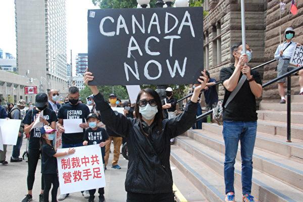 2020年8月30日,多倫多近千人在老市政廳前集會、遊行,呼籲加拿大政府採取實際行動,制裁中共,實施「安全港計劃」,營救受迫害的香港人。(伊鈴/大紀元)