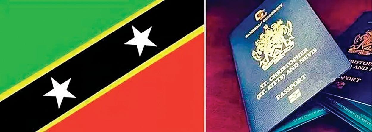 馬雲的去向引發各種猜測,有說他已通過聖基茨(St. Kitts)護照成功出逃。圖為聖基茨的國旗、護照截圖。(網絡圖片)