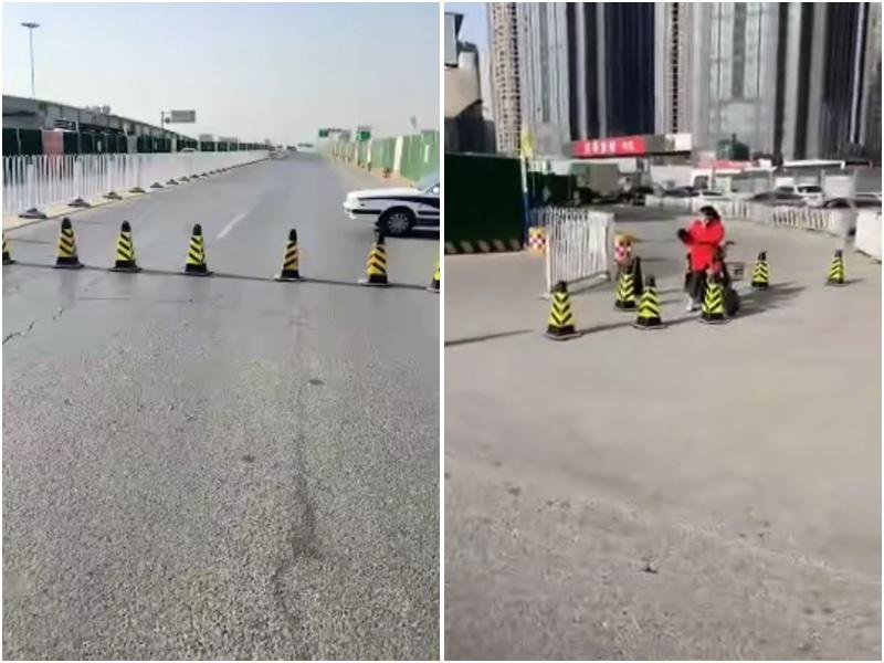 大陸疫情爆發日趨嚴重,北京已經阻斷高速進京公路。圖為河北進京高速口完全封閉。(大紀元)