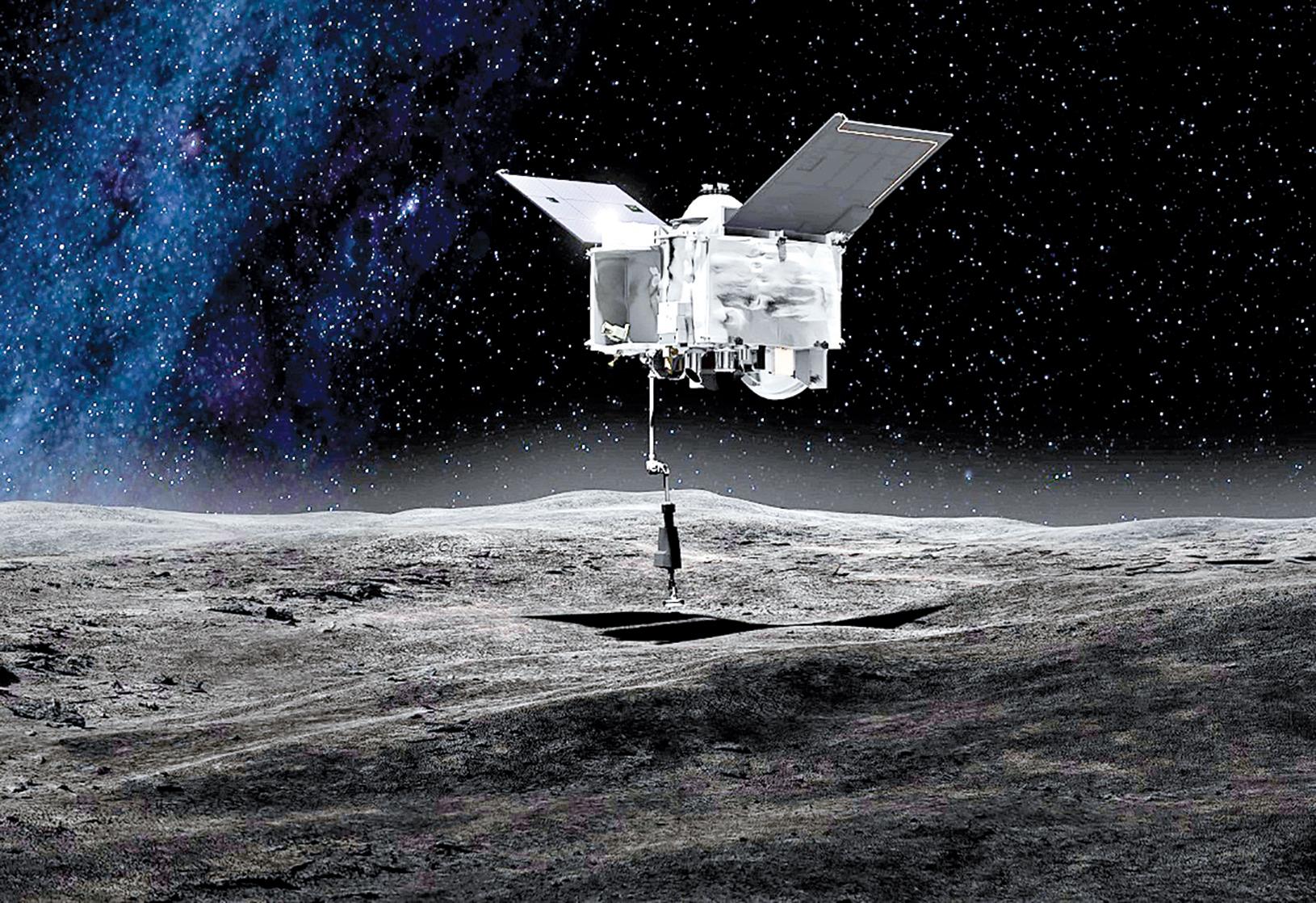 在本努小行星上採集碎石樣本示意圖。(NASA)
