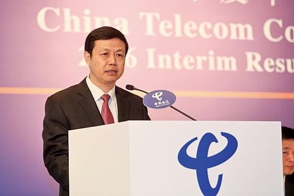 中電信董事長兼首席執行官楊杰表示,全年會根據公司業績等,適時提出派息方案。(余鋼/大紀元)